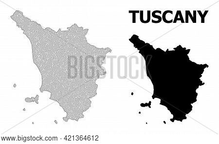Polygonal Mesh Map Of Tuscany Region In High Detail Resolution. Mesh Lines, Triangles And Dots Form