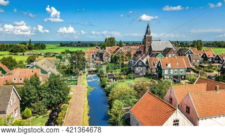 Aerial Drone View Of Marken Island, Traditional Fisherman Village From Above, Typical Dutch Landscap