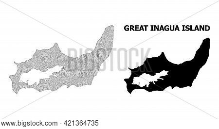 Polygonal Mesh Map Of Great Inagua Island In High Detail Resolution. Mesh Lines, Triangles And Point