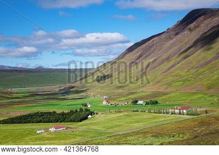 Beautiful Iceland Mountain Green Landscape In Summer