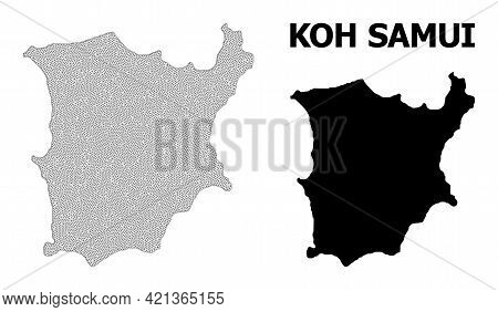 Polygonal Mesh Map Of Koh Samui In High Resolution. Mesh Lines, Triangles And Dots Form Map Of Koh S