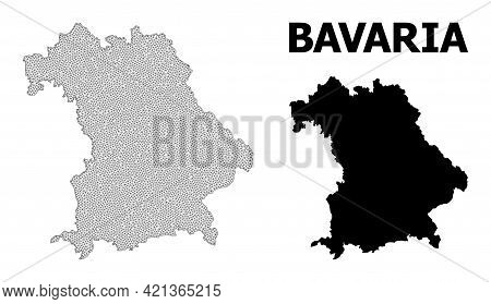 Polygonal Mesh Map Of Bavaria State In High Detail Resolution. Mesh Lines, Triangles And Dots Form M
