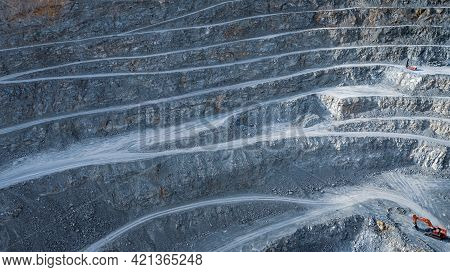 Striped Pattern Of Terraces In Open Pit Stone Quarry, Industrial Background