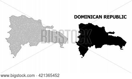 Polygonal Mesh Map Of Dominican Republic In High Detail Resolution. Mesh Lines, Triangles And Dots F