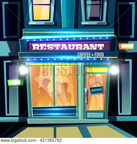 Small Restaurant Full Of Visitors At Evening Time On City Street Cartoon Vector Illustration. Local