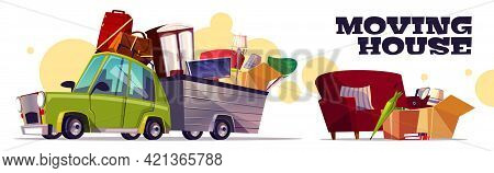 Moving House Vector Concept With Car Carrying Filled Cardboard Boxes, Baggage, Tv And Furniture In U