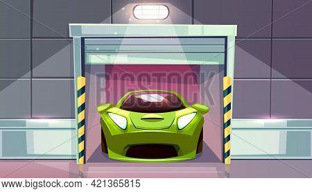 Car Garage Or Parking Lot Exit With Roller Shutters Vector Illustration. Vehicle Modern Sportcar In