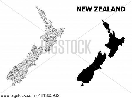Polygonal Mesh Map Of New Zealand In High Detail Resolution. Mesh Lines, Triangles And Points Form M