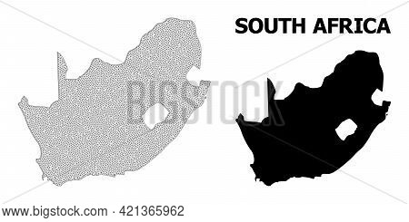 Polygonal Mesh Map Of South African Republic In High Detail Resolution. Mesh Lines, Triangles And Do