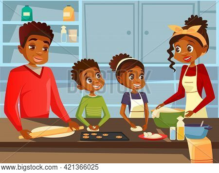 Afro American Black Family Together Preparing Food Meal At Kitchen Vector Flat Cartoon Illustration.