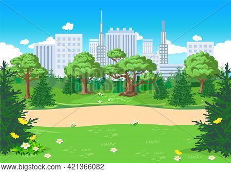 Vector Illustration Of A Public Park With A Footpath In A Big City With Skyscrapers. Horizontal Illu