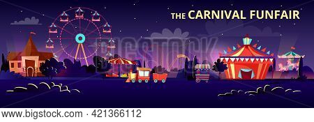 Amusement Park Vector Illustration Of Funfair Carnival At Night Or Evening With Cartoon Rides. Flat