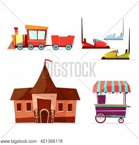 Vector Cartoon Amusement Theme Park Attractions Set. Steam Train Horror House With Skeletons, Bumper