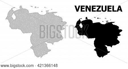 Polygonal Mesh Map Of Venezuela In High Detail Resolution. Mesh Lines, Triangles And Points Form Map