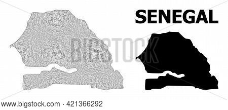Polygonal Mesh Map Of Senegal In High Resolution. Mesh Lines, Triangles And Points Form Map Of Seneg