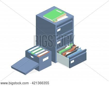 Documents Cabinet And File Archive Storage Box Vector Illustration. Isolated Isometric Business Fold
