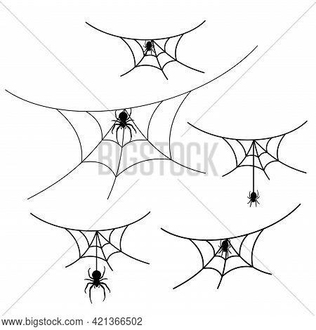 Scary Spider Web Set Isolated White Background. Cobweb, Black Spider. Halloween Horror Decoration. S