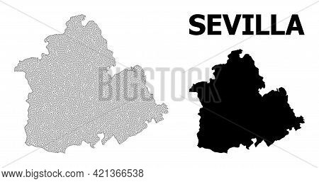 Polygonal Mesh Map Of Sevilla Province In High Detail Resolution. Mesh Lines, Triangles And Dots For