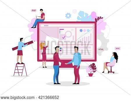 Website Development Crew Flat Concept Vector Illustration. Maintaining Functionality And User Intera