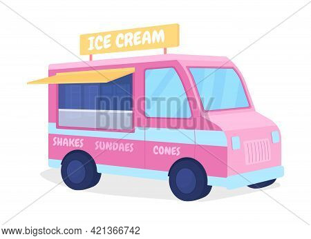 Ice Cream Truck Flat Color Vector Object. Van Selling Sundae. Buy Summer Refreshment From Wagon. Pop