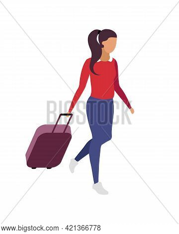 Solo Travel For Woman Flat Color Vector Faceless Character. Business Journey. Going To Weekend Trip