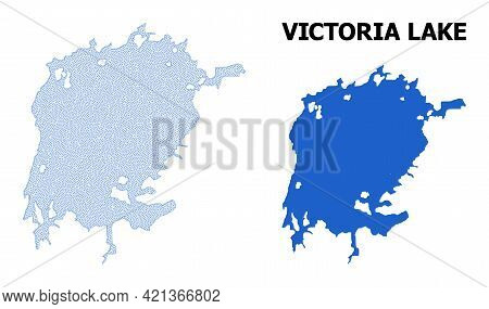 Polygonal Mesh Map Of Victoria Lake In High Detail Resolution. Mesh Lines, Triangles And Points Form