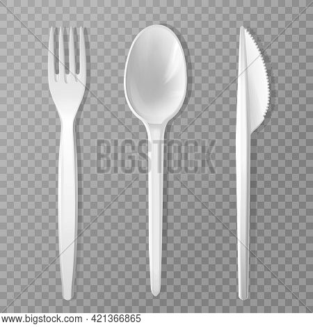 Vector Disposable Fork, Knife And Spoon. Realistic Plastic Kitchen Utensil, Serving Set. Flatware Mo
