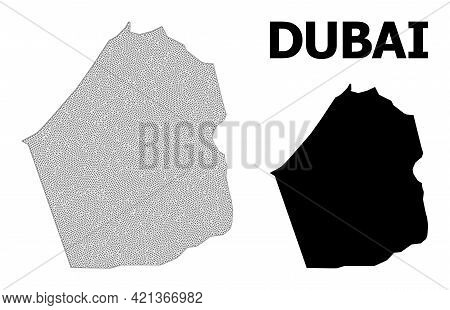 Polygonal Mesh Map Of Dubai Emirate In High Detail Resolution. Mesh Lines, Triangles And Dots Form M