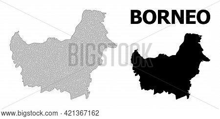 Polygonal Mesh Map Of Borneo Island In High Detail Resolution. Mesh Lines, Triangles And Dots Form M