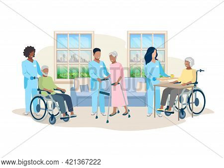 Nurses Take Care Of The Elderly In A Nursing Home. Thanks To The Nurses. Vector Illustration In A Fl