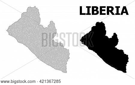 Polygonal Mesh Map Of Liberia In High Detail Resolution. Mesh Lines, Triangles And Dots Form Map Of
