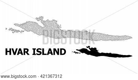 Polygonal Mesh Map Of Hvar Island In High Resolution. Mesh Lines, Triangles And Points Form Map Of H