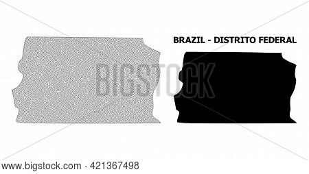 Polygonal Mesh Map Of Brazil - Distrito Federal In High Detail Resolution. Mesh Lines, Triangles And