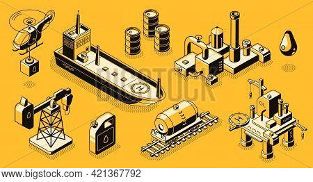 Oil Extraction And Refinery, Petroleum Industry Transport, Objects And Buildings Line Art, Isometric