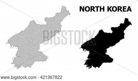 Polygonal Mesh Map Of North Korea In High Detail Resolution. Mesh Lines, Triangles And Dots Form Map