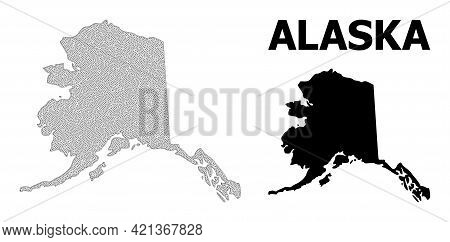 Polygonal Mesh Map Of Alaska State In High Resolution. Mesh Lines, Triangles And Dots Form Map Of Al