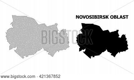 Polygonal Mesh Map Of Novosibirsk Region In High Resolution. Mesh Lines, Triangles And Dots Form Map