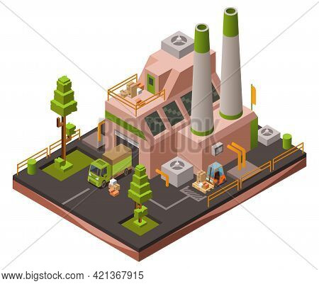 Factory Plant Isometric 3d Vector Illustration Or Map Industrial Zone With Loader Forklift Trucks An