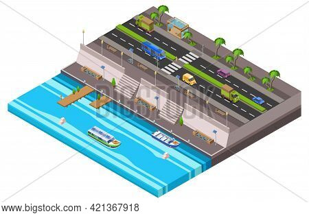Riverside City Isometric 3d Vector Illustration Of Waterfront Town Traffic Lane Along Ferry Boat Pie