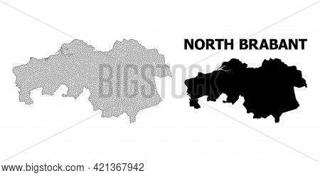 Polygonal Mesh Map Of North Brabant Province In High Detail Resolution. Mesh Lines, Triangles And Do