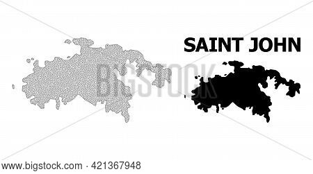 Polygonal Mesh Map Of Saint John Island In High Resolution. Mesh Lines, Triangles And Points Form Ma