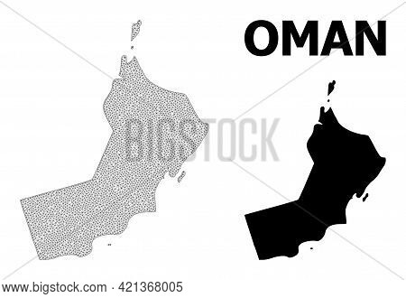 Polygonal Mesh Map Of Oman In High Resolution. Mesh Lines, Triangles And Dots Form Map Of Oman. High