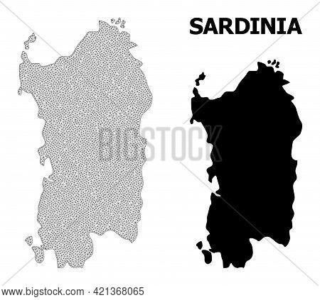 Polygonal Mesh Map Of Sardinia Region In High Detail Resolution. Mesh Lines, Triangles And Points Fo