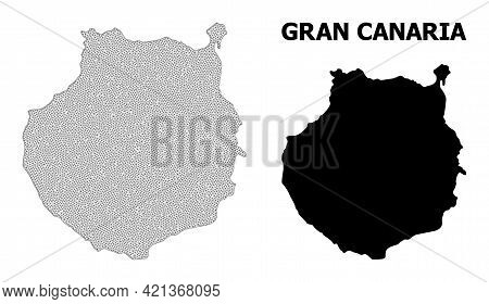 Polygonal Mesh Map Of Gran Canaria In High Resolution. Mesh Lines, Triangles And Dots Form Map Of Gr