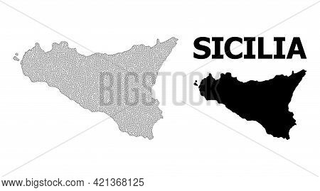 Polygonal Mesh Map Of Sicilia Island In High Detail Resolution. Mesh Lines, Triangles And Dots Form