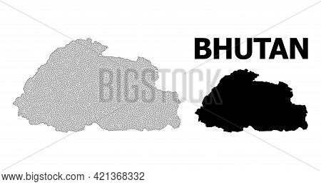Polygonal Mesh Map Of Bhutan In High Detail Resolution. Mesh Lines, Triangles And Dots Form Map Of B