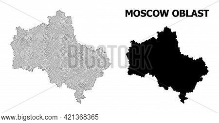 Polygonal Mesh Map Of Moscow Region In High Resolution. Mesh Lines, Triangles And Points Form Map Of