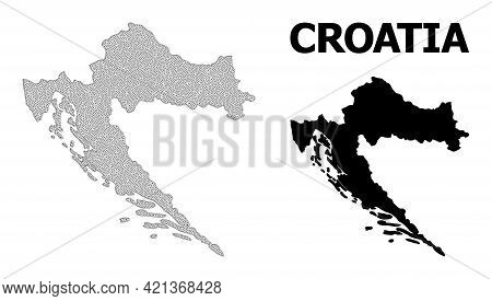 Polygonal Mesh Map Of Croatia In High Detail Resolution. Mesh Lines, Triangles And Dots Form Map Of