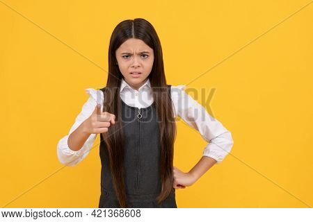 Angry Kid In School Uniform Point Accusing Finger Yellow Background, Accuse
