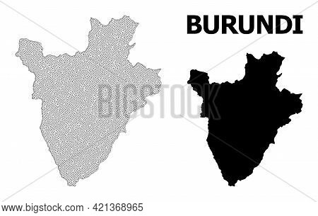 Polygonal Mesh Map Of Burundi In High Resolution. Mesh Lines, Triangles And Points Form Map Of Burun